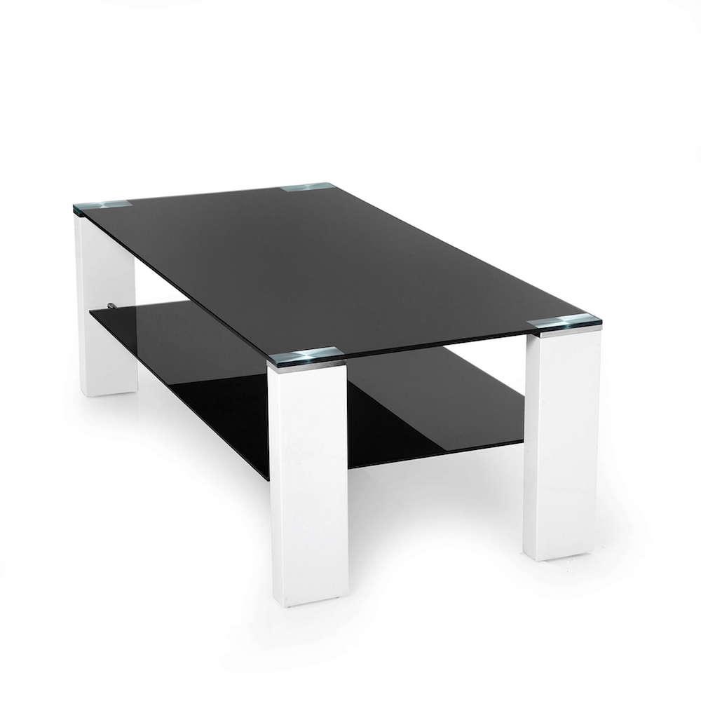 Zwarte Glazen Salontafels.Salontafel Zwart Glas Design