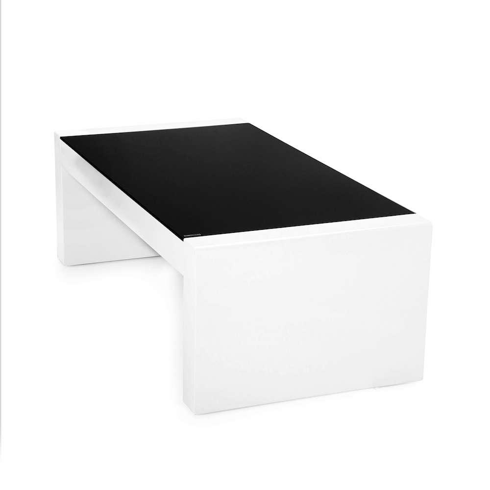 Witte salontafel met zwart glas