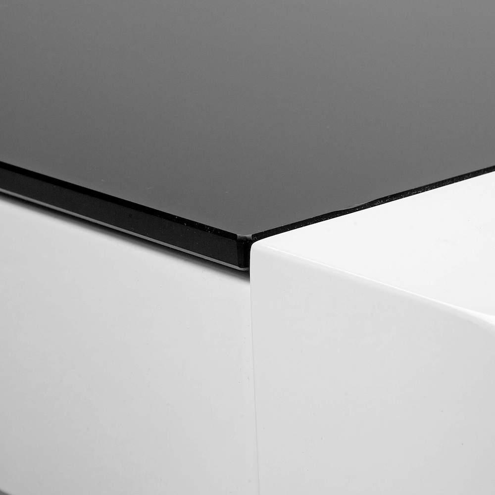 Witte salontafel met zwart glas 6